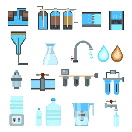 Water filtration set of flat icons with industrial treatment system, household jug with cartridge isolated vector illustration