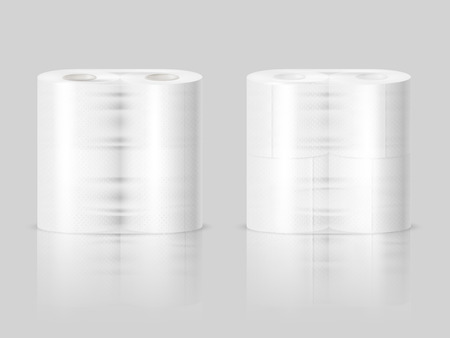 Paper towels or tissue toilet rolls standing on polished surface 2 realistic images gray background vector illustration  Illustration