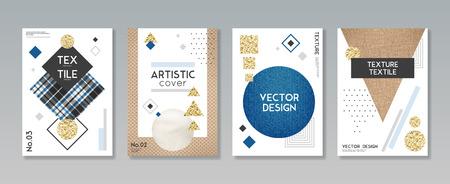 De realistische presentatie van de textuursteekproeven van de doekstof textiel 4 creatieve banners met artistieke dekkingsontwerp isoleerde vectorillustratie