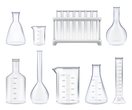 Set of realistic test-tubes and glass jars of various shape with measuring scale isolated vector illustration