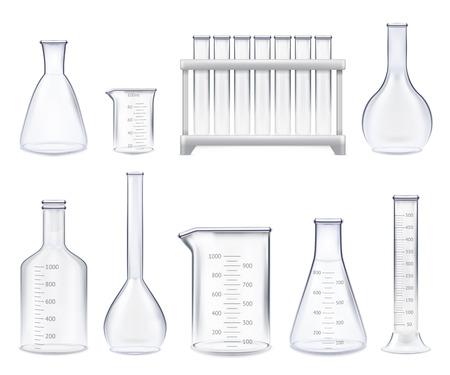 Satz realistische Reagenzgläser und Glasgefäße der verschiedenen Form mit messender Skala lokalisierte Vektorillustration