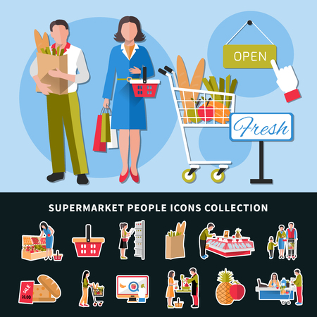 Supermarket people icons collection with seller and customers, goods on counters, cash desk, discounts isolated vector illustration Ilustração