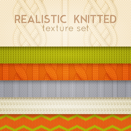 Realistic knitted patterns samples 6 horizontal layers set with scandinavian sweaters cable stitch texture vector illustration Zdjęcie Seryjne - 94794471