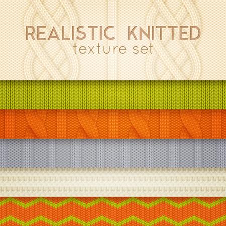 Realistyczne wzory z dzianiny próbki 6 poziomych warstw zestaw ze skandynawskimi swetrami ilustracja wektorowa tekstury ściegu kablowego Ilustracje wektorowe
