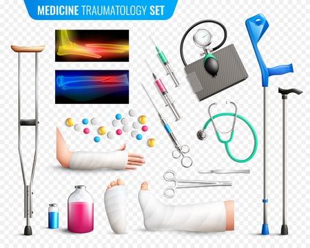 의료 도구, 뼈 골절, 팔 뚝, 투명 한 배경의 외상과 x- 레이의 집합 격리 된 벡터 일러스트 레이 션 일러스트