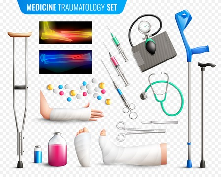 Set of medical tools, x-ray with bones fracture, traumas of limbs, transparent background isolated vector illustration
