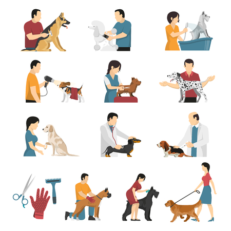 Grooming service vet dogs set of isolated flat image compositions of human characters with pets vector illustration.