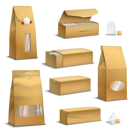 Brown sack kraft paper tea bags and loose leaves packs boxes packages realistic set isolated vector illustration Vettoriali