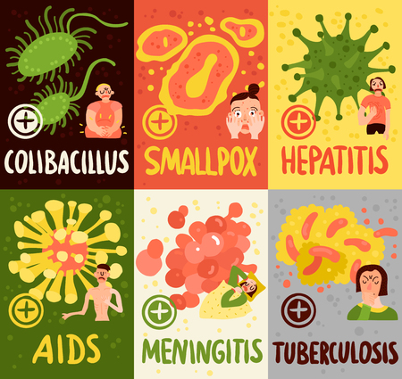 Human viruses cards set with meningitis and smallpox symbols flat isolated vector illustration