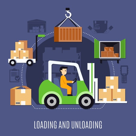 Warehouse flat composition with loading and unloading headline combined in round vector illustration