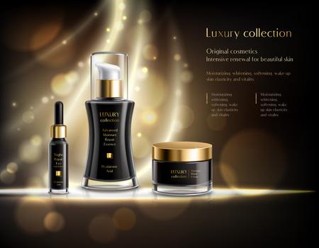 Affiche de publicité réaliste cosmétiques de luxe avec lotion noire distributeur crème pot bulles doré fond sombre illustration vectorielle