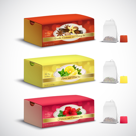 Fruit and herbal whole leaves teabags box packages realistic set with lemon mint hibiscus flavors vector illustration Illustration