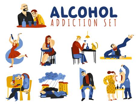 Die Alkoholsuchtikonen, die mit Schadensymbolebene eingestellt wurden, lokalisierten Vektorillustration Standard-Bild - 94780342