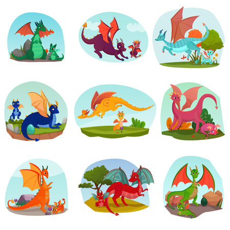 Fairy dragons kids set of isolated compositions with parent dragons and kids with wings and horns vector illustration