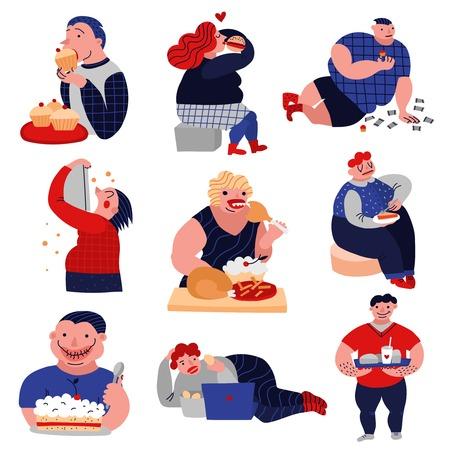 Il consumo eccessivo di golosità della raccolta piana delle icone della bevanda e dell'alimento con la gente di cibo di peso eccessivo ha isolato l'illustrazione di vettore