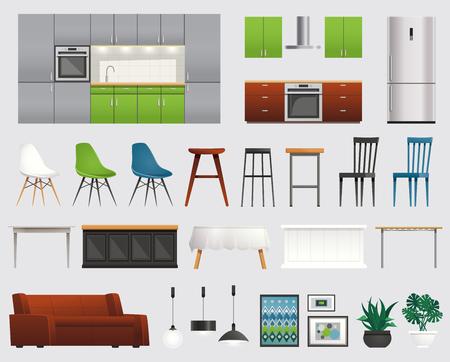 Modern kitchen and living room design ideas elements icons composition with furniture refrigerator accessories set vector illustration  Ilustração