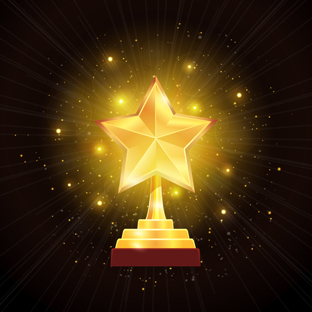Winner glowing gold star trophy award with hazy halo of lights on black background realistic vector illustration