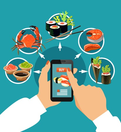 Sushi colored concept pushing your finger on the touch screen with round icons vector illustration