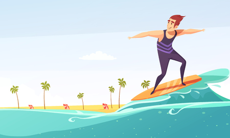 Tropical island vacation big wave surfing cartoon poster with beach palms and man on surfboard vector illustration  Illustration