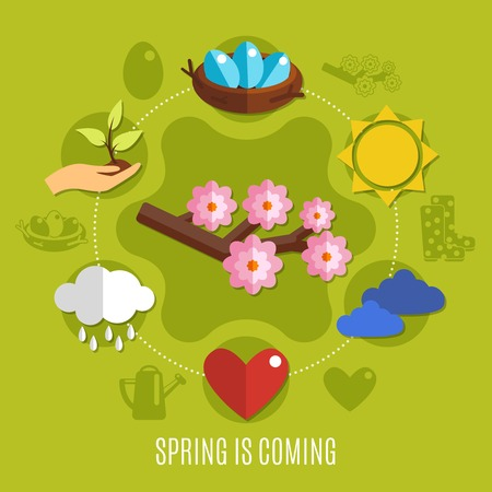 Bright flat design spring easter concept with blooming branch sun and eggs in nest on green background vector illustration