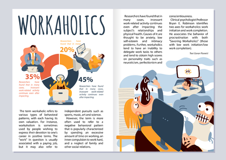 Workaholic magazine layout with office work symbols infographics flat vector illustration