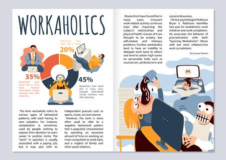 Layout de revista Workaholic com símbolos de trabalho de escritório infográficos ilustração vetorial plana