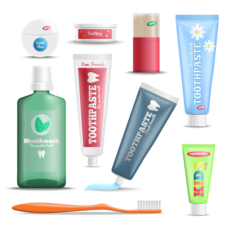 Dental hygiene oral care products realistic set with mouthwash toothpaste toothbrush floss and wooden sticks vector illustration