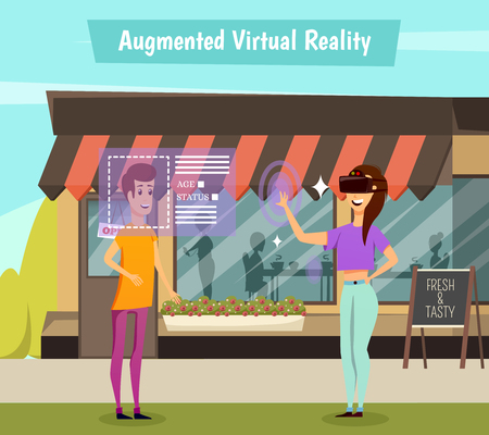Girl in virtual reality headset during identification of young man, scene on cafe background orthogonal vector illustration Ilustracja