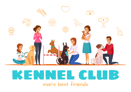 Kennel club cartoon vector illustration with male and female characters and their pets of different breeds