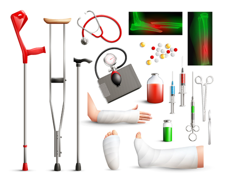 Trauma surgery realistic set with radiograph plastered limbs stick crutches surgical tools  on white background isolated vector illustration   Illustration