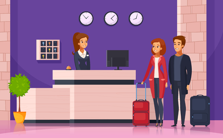 Hotel reception cartoon background with manager behind registration desk and tourists with suitcases vector illustration