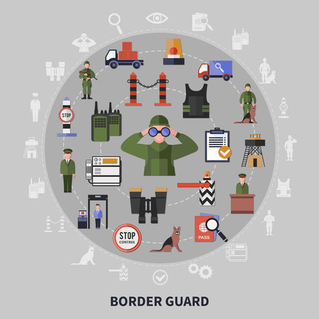Border control service and guard equipment concept on grey background flat vector illustration Illustration