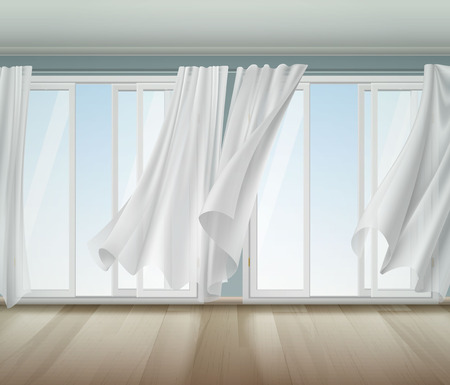 Open window with white frame and  lightweight clear curtains billowing on wind, wooden floor vector illustration