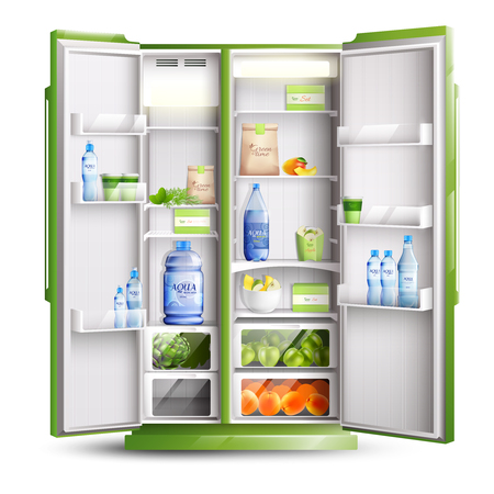 Refrigerator organization realistic isolated object with opened green doors and products on shelves vector illustration