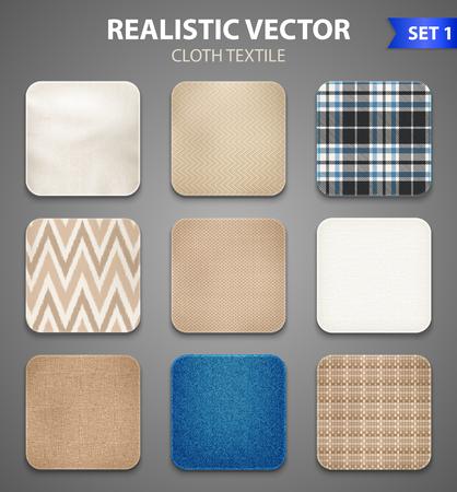 De textielcollectie realistische vierkante steekproeveninzameling van huis het verfraaien en de monsters van de kledingsstof isoleerden vectorillustratie