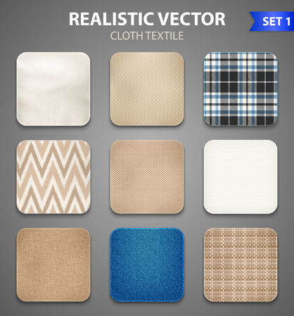 Textile texture color realistic square samples collection of home decorating and apparel fabric swatches isolated vector illustration