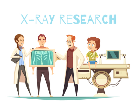 Bone x-ray research radiology for orthopedic surgery with patient physician and medical assistant cartoon vector illustration