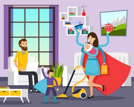 スーパーヒーローの衣装漫画ベクトルイラストに身を包んだ母と息子と家庭のインテリア直交の背景で家族の肖像画
