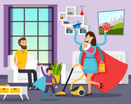 Family portrait in home interior orthogonal background with mother and son dressed in superhero costumes cartoon vector illustration