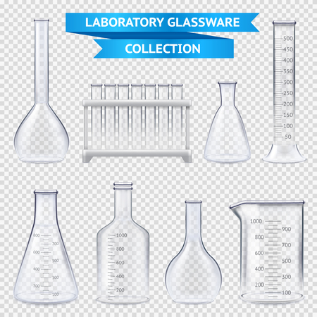 Realistic laboratory glassware collection with test-tubes on plastic stand, beakers isolated on transparent background vector illustration Imagens - 94902078