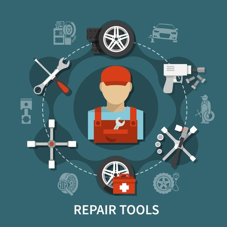 Tire service concept with car spares and various tools for repairing flat vector illustration