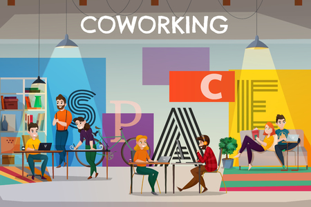 Coworking poster background with text and flat open space interior with tables sofas and people characters vector illustration