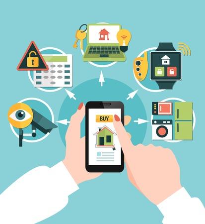 手にモバイルデバイス、青い背景ベクトルイラストの機器でオンラインフラットコンポジションを購入するホームセキュリティ  イラスト・ベクター素材