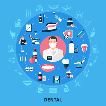 Dental round design concept with stomatological equipment  toothpaste  bracket dental floss white smile flat icons vector illustration