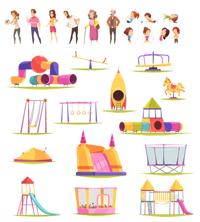 Children people playground set of isolated playground constructions and doodle human characters of kids and adults vector illustration