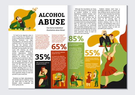 Alcohol addiction magazine layout with abuse symbols