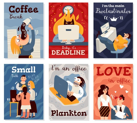 Office work cards set with coffee break symbols flat isolated vector illustration