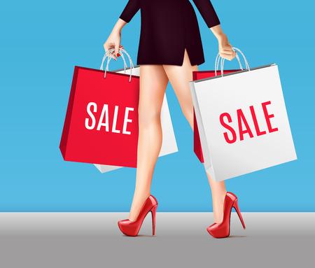 ●赤漆の靴とパッケージに販売ベクトルイラストでショッピングバッグを持つ色付き女性リアルな組成脚