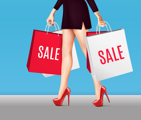 Colored woman with shopping bags realistic composition legs in red lacquer shoes and packages with a sale vector illustration