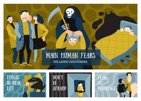 인간의 두려움 가로 배너 공포 기호 평면 절연 벡터 일러스트와 함께 설정 일러스트